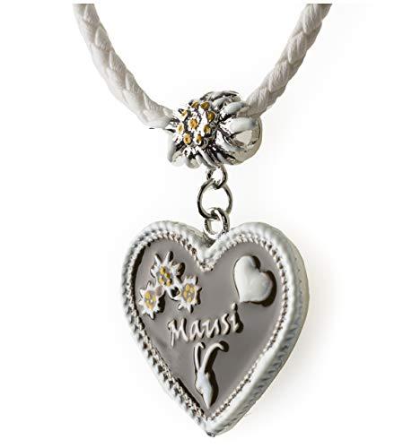 Trachtenkette Mausi bemaltes Herz mit Edelwess Kette div. Farben - Trachtenschmuck Dirndl Lederhose (Weiss)