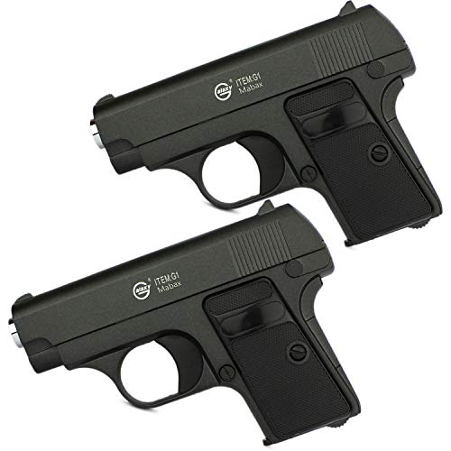 Softair Airsoft Pistole + Munition | G1. Vollmetall | 14cm. Inkl. Magazin & 0,5 Joule | Doppelpack 2 STK.