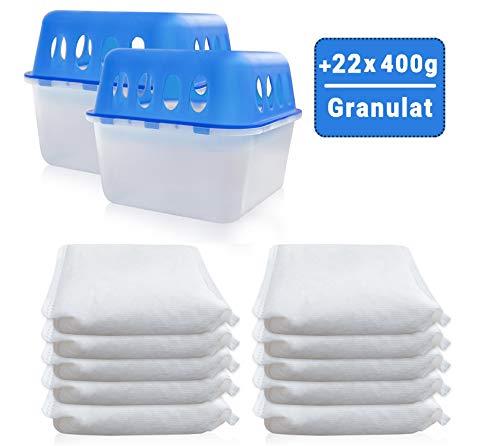 2 Boxen + 22 Granulat 400 Gramm Luftentfeuchter (2D+6E) Feuchtigkeits-Stopper mit Nachfüll-Beutel Granulat Nachfüllpack Vliesbeutel Raumentfeuchter + Microfasertuch -Vanorell-