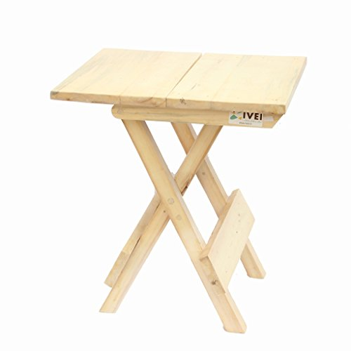 IVEI Mesa plegable, mesa portátil de madera y taburete, taburete para niños (grande)