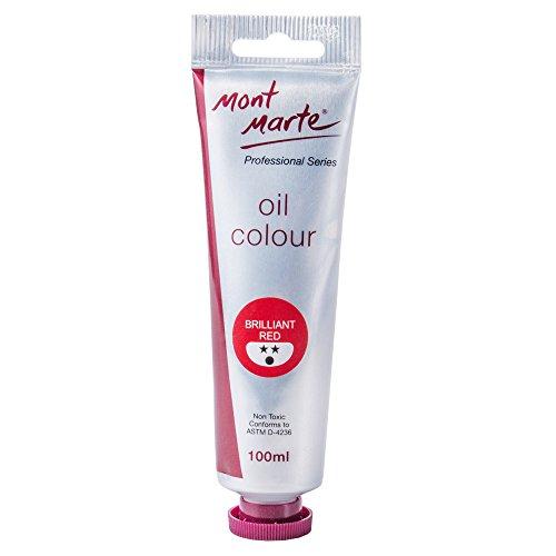 Mont Marte Premium Oil Paint, 3.4oz (100ml), Brilliant Red, Good Coverage, Excellent Tinting Strength