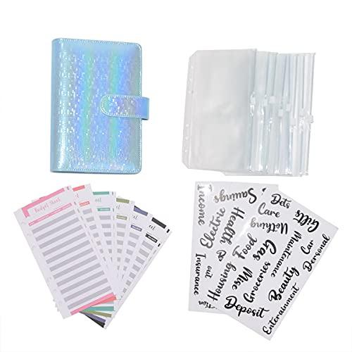 LACKINGONE Funda para Cuaderno Funda de Piel Suace con Anillas Color Macaron 8 Bolsillos Funda A5 A6 Protectora, Organizador para Documetos y Cuadernos de Notas para Diario, Viaje, Regalo (Azul)