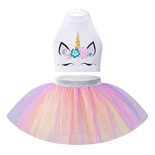 IEFIEL Vestido de Danza Ballet para Niña Disfraz Unicornios de Fiesta Navidad Carnaval Crop Top Sin Manga+Tutú Disfraz de Bailarina Niña Blanco 9-10 años