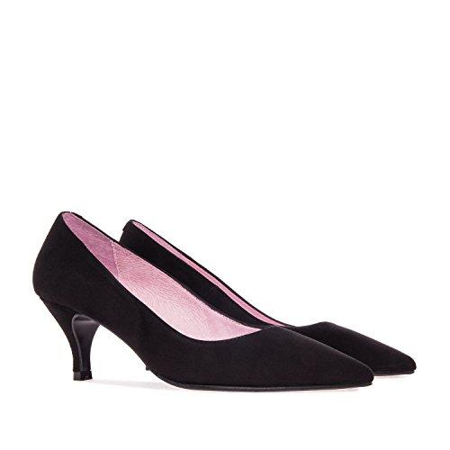 Andres Machado - Elegante Pumps für Damen/Mädchen - Amanda – Hohe Schuhe mit 7 cm Absatz/High Heels aus Veloursleder– in Schwarz, EU 33