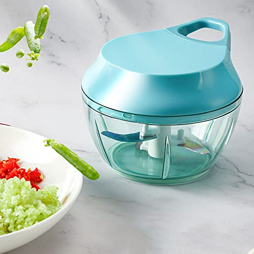 WANY Manual Meat Grinder,Hand Chopper Manual Food Processor,Pull String To Slice Vegetables Garlic Tomato Meat In Seconds Curved Stainless Steel Removable Blades Non Slip Base Food Chopper.