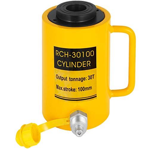 VEVOR Hydraulikzylinderheber Kapazität 30T Hydraulikzylinder 100 mm Hub einfachwirkender tragbar gelb, hydraulische Wagenheber Hohlkolbenheber Hydraulikflasche 6,9 kg für Riggers-Hersteller