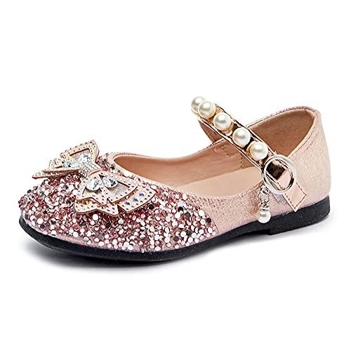 Eleasica Zapatos de Princesa Calzado de Cristal para niña Zapatillas de Cuero para niños Zapatos de Baile con Adornos de Perlas Conjunto de Disfraces Princesa Carnaval Halloween Primavera y Verano