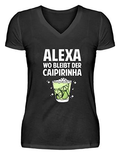 EBENBLATT Alexa wo bleibt der Caipirinha Party Fun Geschenk - V-Neck Damenshirt -XXL-Schwarz