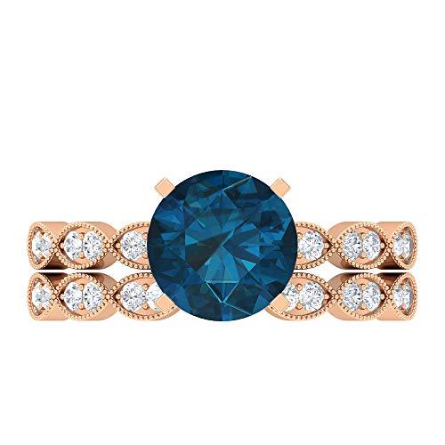 Conjunto de anillos solitario para novia, 2,49 quilates redondos, D-VSSI Moissanite 8 mm de topacio azul Londres, anillo de catedral con piedras laterales, 18K Oro rosa, Size:EU 56