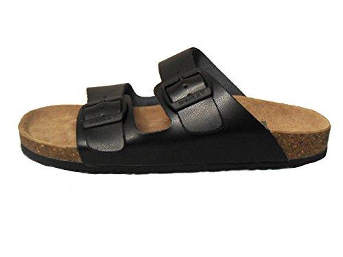 Herren Comfort Bio Pantoletten Tieffußpantoletten Leder Sandalen Kork Clogs Gr. 41 42 43 44 (Gr.41)