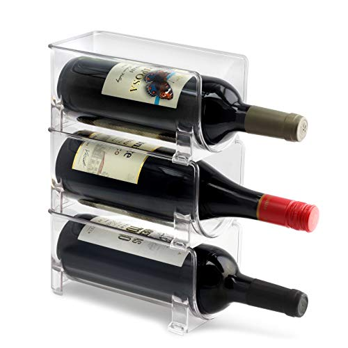 ELTOW Modular Plastic Wine Rack (3-Pack) Stackable Display and Fridge Storage System - Clear, Heavy-Duty PET Plastic - Great for Home Kitchen Refrigerator, Bar, Countertop, or Dining Room Use