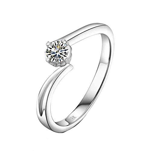 AnazoZ Anillos Compromiso Mujer Diamante,Anillos de Mujer Oro Blanco 18 Kilates Plata Redondo con 4 Garras Diamante 0.2ct Talla 15