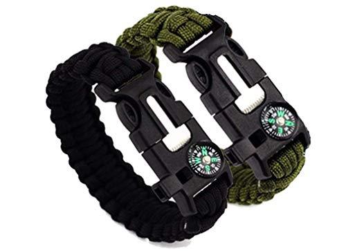 Paracord Armband, Anlising 2 Stück Outdoor Survival Armband aus Paracord Survival Armband mit Multitool mit Multitool, Feuerstahl, Kompass, Signalpfeife, Minimesser und Thermometer