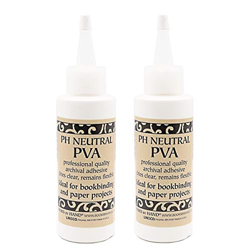 Books By Hand Acid Free PH Neutral PVA Adhesive. Fast Setting, Re-moistenable, Lays Flat, and Dried Clear. Perfect for Bookbinding, DIY, Crafts, and More! (Pack of 2) Spout Not Included
