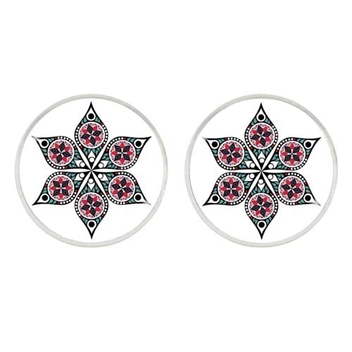 Pendientes de cabujón de cristal con diseño de mandala, símbolo budista, henna, yoga, para mujeres
