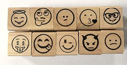 Smiley Emoji Rubber Stamp Set