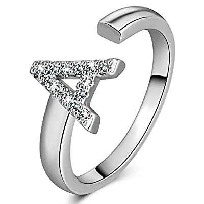 YELUN 18K gold Initial Letter Ring Adjustable Crystal Inlaid Free Size Stackable Alphabet Letter Knuckle Rings Bridesmaid Gift A to Z (A, yellow-gold-plated)
