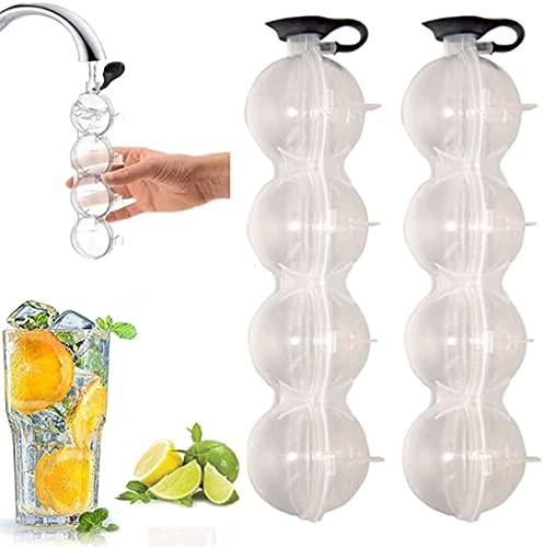 Bandejas de cubitos de hielo, plástico transparente, 4 bolas de hielo gigantes, molde redondo para cubitos de hielo, bandeja para hacer bolas de silicona (2 unidades)