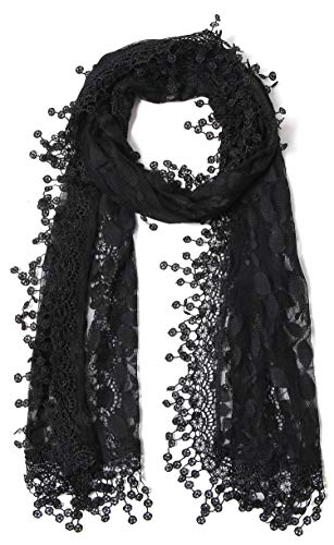 Cindy and Wendy Lightweight Soft Leaf Lace Fringes Scarf shawl for Women (Black-1)