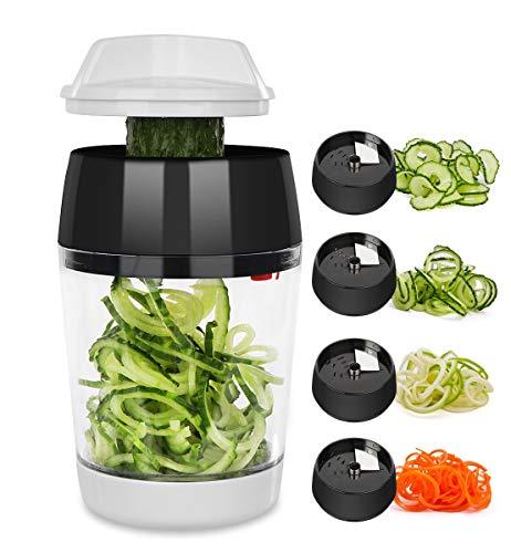 Trituradora en espiral multifuncional cuatro en uno adecuada para cortadores manuales de verduras para calabacín pasta pepino zanahoria y patatas sin BPA