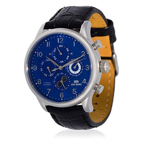 Jost Burgi herenhorloge, automatisch, kwarts, 40 mm, blauwe wijzerplaat, zwarte lederen armband HB4B70C4BC1