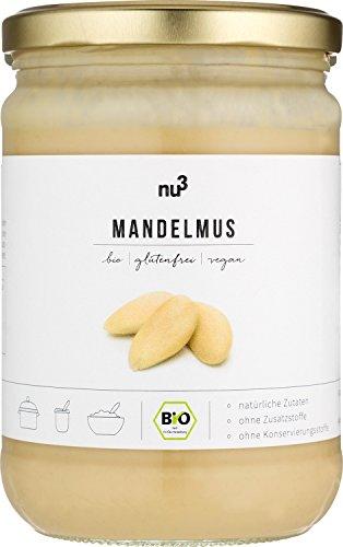 nu3 Bio Mandelmus Weiß - 500 g im Glas - aus 100% geschälten Mandeln - beste Rohkost Qualität aus Spanien - perfekt zum Backen in Cupcakes, Kuchen oder im Müsli - Vegan & ohne Zusatzstoffe