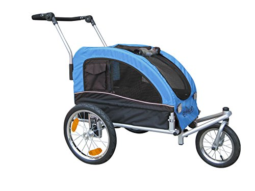 Booyah Medium Dog Stroller & Pet Bike Trailer with Suspension - Blue