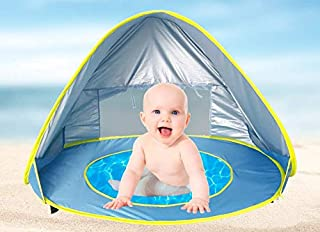 SureWinner Baby Beach Tent Pop Up Portable Sun Shelter with Pool 50+ UPF UV Protection Waterproof Canopy Summer Outdoor Tent for Infant--Blue