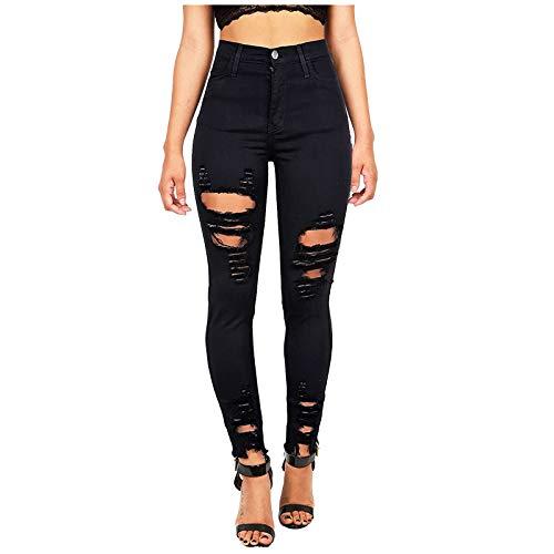 Y2K - Pantalones vaqueros para mujer de cintura alta y holgados, pantalones vaqueros rotos, vaqueros largos, pantalones vaqueros estrechos, cintura alta, ajustados, delgados, de un solo color