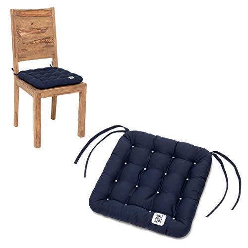 HAVE A SEAT Luxury - Sitzkissen 40x40 cm - bequemes Stuhlkissen, orthopädisch, waschbar bis 95°C, Trockner geeignet, farbecht - Made in Germany - (2er Set, Marine-Blau)