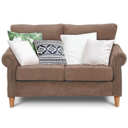 Giantex Upholstered Loveseat Sofa Couch Linen Fabric Contemporary Living Room Modern Overstuffed Classically Styled Couch Loveseat w/Removable Cushions, Roll Arms (Coffee)