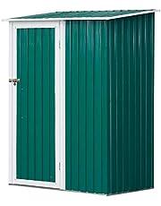 Outsunny Cobertizo de Acero Tipo Caseta de Jardín Terrazas Galvanizado Almacén para Herramientas Jardinería con Techo y Una Puerta 143x89x186cm