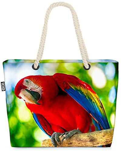 VOID Loro Guacamayo Rojo Brillante Bolsa de Playa 58x38x16cm 23L Shopper Bolsa de Viaje Compras Beach Bag Bolso