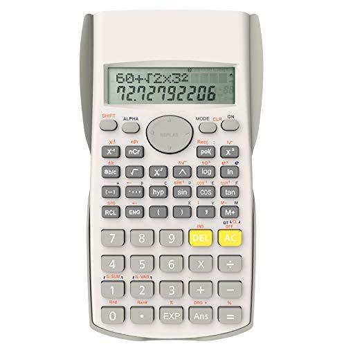 Helect Zweizeilig Wissenschaftliche Taschenrechner, Geeignet für Schule und Beruf, Weiß