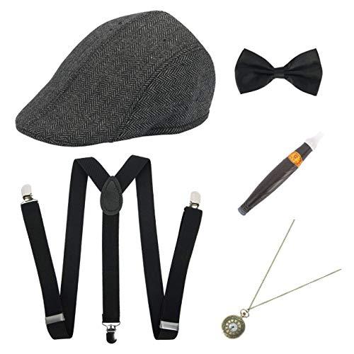 ShiyiUP Accessoires de Déguisement Années 1920 Chapeau Porte-Jarretelles Noeud Papillon Boucle Cigarette Ensemble 5pcs (Homme)