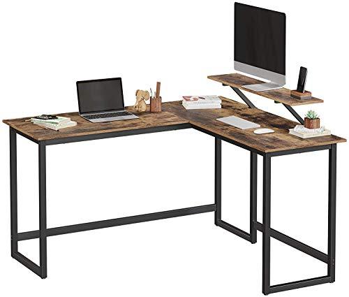 Einfach zu montieren, L-Typ-Service, für das Lernen, Freizeit, Arbeit, spart Platz auf dem Schreibtisch mit der Ecke des Monitorständers,Brown