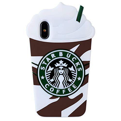 Artbling Case for iPhone Xs Max 6.5' Silicone 3D Cartoon Food Cover,Kids Girls Teens Cool Cute Cases,Fashion Kawaii Soft Rubber Character Funny Vivid Color Skin for iPhone Xs Max 6.5' Grey Coffee