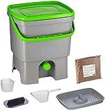Skaza Bokashi Organko (16 L) Compostador de Jardín y Cocina de Plástico Reciclado | Starter Set con EM Bokashi Polvo 1 Kg. (Gris-Verde)