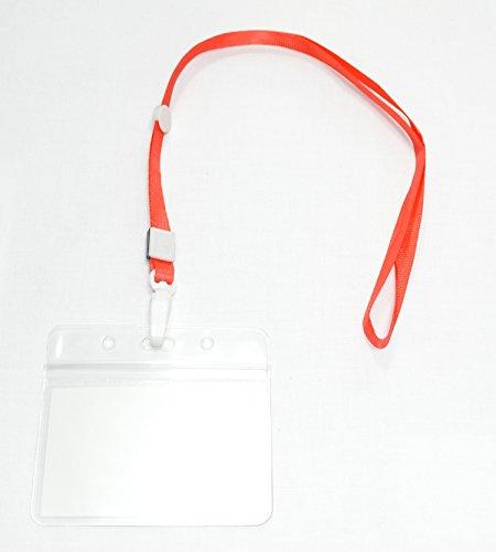 【CURCUS(サーカス)】 名札 ホルダー ネックストラップ/首かけ 吊り下げ式 名刺 IDカード 用 カラー全8色 収納袋とも (レッド 20個)