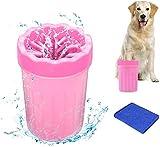 MISHAER Limpiador de Patas de Perro,Taza de Limpieza para Mascotas,Limpiador de Patas para Perro Gato,Lavadora de pies de Perro,Taza de pie para Mascotas (Rosa roja)