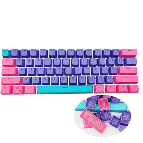 WHYSP 61 PBT Keycaps for 60 Percent Keyboard, Backlit Keycap Set for Mechanical Gaming Keyboard OEM Profile Blue Keycaps with Key Puller for Cherry MX Switches GH60/RK61/GK61/Annie pro 2(Peach)