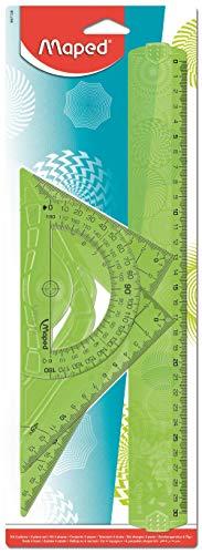 Maped - Kit Géométrie Geocustom - Règle 30 cm + Équerre Scolaire 60° + Équerre Scolaire 45° + Rapporteur 180° - Set de Traçage Fantaisie - Texturation Laser, Motifs Géométriques - Coloris Aléatoire