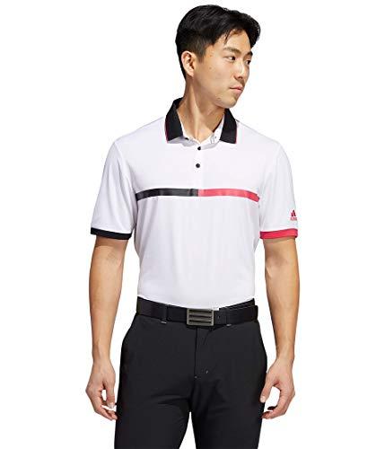 adidas Ultimate365 3-Stripes Polo, Blanco/Negro/Rosa Potente, S para Hombre