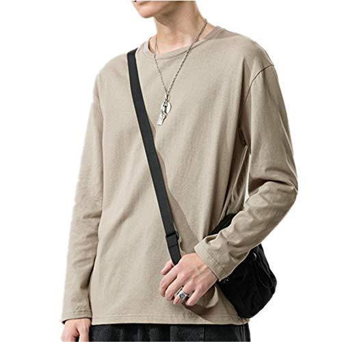Herbst und Winter einfarbig T-Shirt mit rundem Hals und Langen Ärmeln All-Match Casual Loose Bottoming Shirt Herrenbekleidung aus 100% Baumwolle