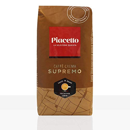 Piacetto Caffè Crema supremo Kaffee, 1.000g | Ganze Bohne | 100% Arabica | Ideal für Vollautomaten | Einzigartige Piacetto-Kaffeequalität