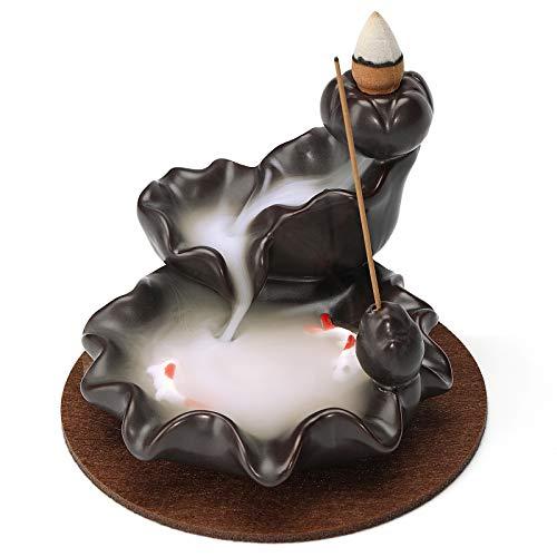 AJAYCA Räucherstäbchenhalter, Wasserfallbrenner, Rückflusskegel, Räucherbrunnen mit Matte, Aromatherapie-Ornament, Raumdekoration
