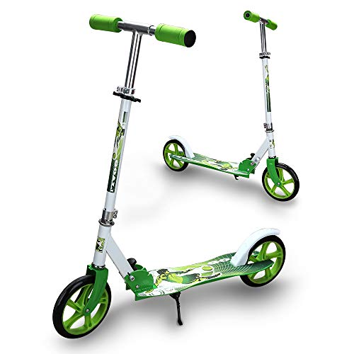 Hengda Kinderscooter ab 5 Jahre, Kinderroller 205mm Kick Scooter, klappbar Kinderroller mit 2 Radern Höhenverstellbar Sichere Premium Kinder Roller (Grün)