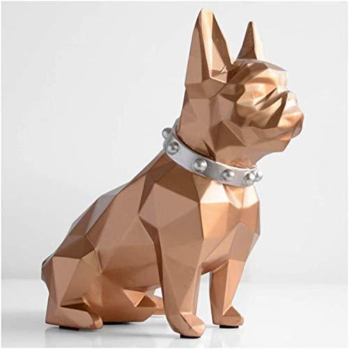 QWEA - Hucha de Resina para Cachorros, Bonitas Monedas de Bulldog, Caja de Dinero para Ahorrar, decoración de Escritorio para el hogar, Adorno, Gran Regalo, Hucha (Color: Gold)