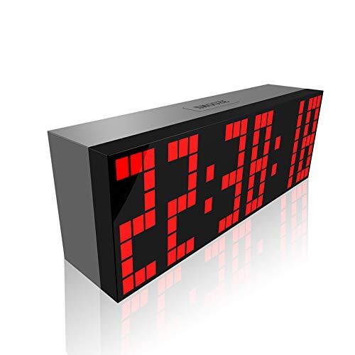 Pevfeciy Gran Reloj De Pared Led, Jumbo Reloj De Pared LED Reloj Digital Grandi Desk Junta Reloj con Control Remoto, Pausa, Alarma, Cuenta Atrás, Temperatura,Rojo