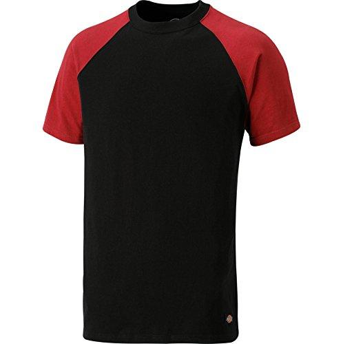 Dickies Two Tone T-Shirt SH2007, 100%Baumwolle, 180g/m², verschiedene Farben (M, Schwarz / Rot)